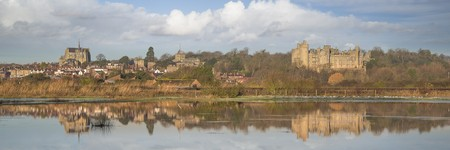 Arundel reflected in winter flood Stock Photo