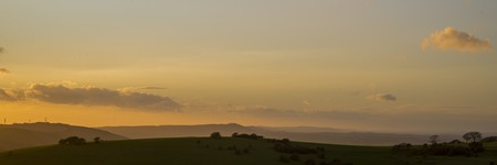 south downs: Muted sunset on the South Downs Way Stock Photo