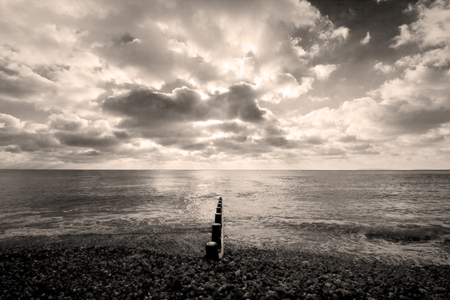 groyne: Silver toned sea at Selsey