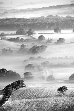 weald: Summer mist on the Weald Stock Photo