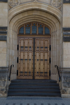 doors set within nice stonework door frames photo