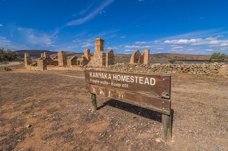 Outback South Australia the old Kanyaka Homestead sits abanded in the Flinders Ranges National Park Stock Photo