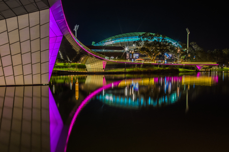 Adelaide, Australia - SEP 5, 2015: Night time shots showing some of Adelaides beautiful city highlights