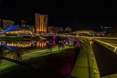 adelaide: Adelaide, Australia - SEP 5, 2015: Night time shots showing some of Adelaides beautiful city highlights
