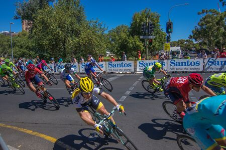 adelaide: Adelaide Australia January 24 2016 The Tour Down Under races through the city streets of Adelaide Editorial