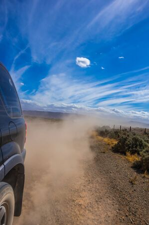 4wd: A 4wd travels down a dusty track in outback South Australia