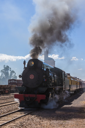 restored: A restored steam engine Locomotive still journeys in outback South Australia Stock Photo