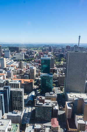 johannesburg: Johannesburg, South Africa 28 March 2016 The Johannesburg city skyline and the outlaying suburbs Editorial