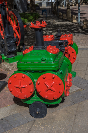 johannesburg: Johannesburg, South Africa 28 March 2016 Historic Minning equipment is used for public artworks in the business district