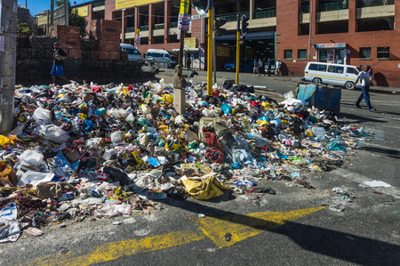 johannesburg: Johannesburg, South Africa 28 March 2016 The Johannesburg rubbish collectors go on strike leaving street corners piled with refuse