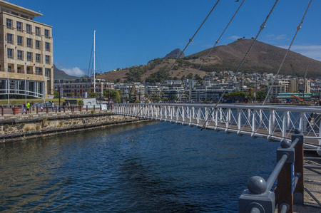 basins: Cape Town South Africa March 20 2016  The Swing Bridge at the Victoria and Alfred Waterfront district links the Alfred and Victoria Basins in Table Bay Harbour