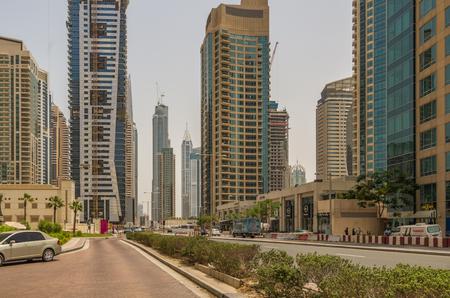 global city: Dubai United Arab Emirates 14 May 2014 Beautiful  images around the streets of Dubai the global city  of UAE Editorial