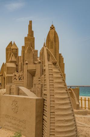 Dubai United Arab Emirates 14 May 2014 Intricate and beautiful sandcastles created on a Dubai beach by Australian Artist  Jenny Rosen