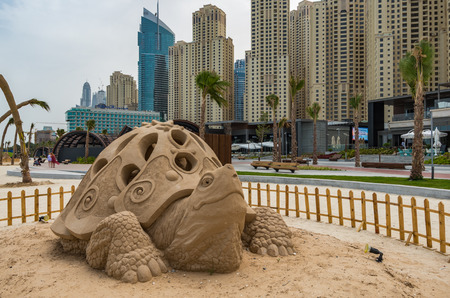Dubai United Arab Emirates 14 May 2014 Intricate and beautiful sandcastles created on a Dubai beach by Australian Artist  Jenny Rosen