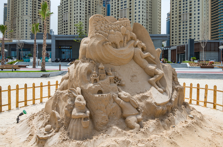 sandcastles: Dubai United Arab Emirates 14 May 2014 Intricate and beautiful sandcastles created on a Dubai beach by Australian Artist  Jenny Rosen
