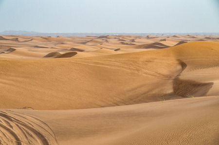 pristine: Dubai desert is close to the city and a pristine natural environment Stock Photo