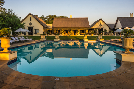 pool rooms: Livingstone Zambia 30 March 2016 The Royal Livingstone Hotel is  a beautiful and elegant resort and located a short walk from the Victoria Falls