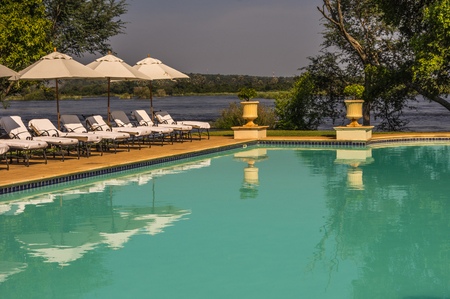 lodgings: Livingstone Zambia 30 March 2016 The Royal Livingstone Hotel is  a beautiful and elegant resort and located a short walk from the Victoria Falls