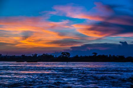 Beautiful Sunset over the Zambezi River, Zambia, The Zambezi is the fourth longest river in Africa