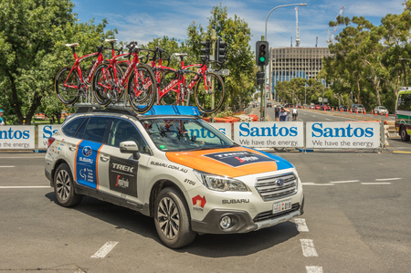 adelaide: Adelaide South Australia 22 January 2017 The Tour Down Under races around the street circuit of central Adelaide and is serviced by the professional team cars following the racers closely behind. Editorial