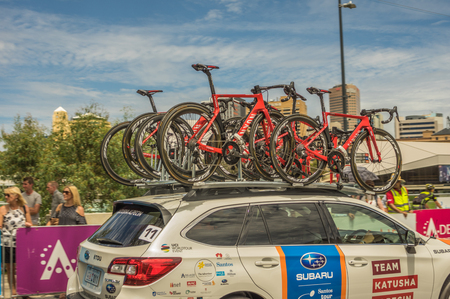 Adelaide South Australia 22 January 2017 The Tour Down Under races around the street circuit of central Adelaide and is serviced by the professional team cars following the racers closely behind. Editorial
