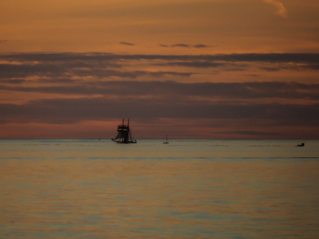 A beautiful  orange Sunset looking outwards to the Southern Ocean from South Australia