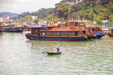 Halong City Vietnam 14 April 2009 Halong Bay is a World Heritage area in North Vietnam attracting tourist from all over the world