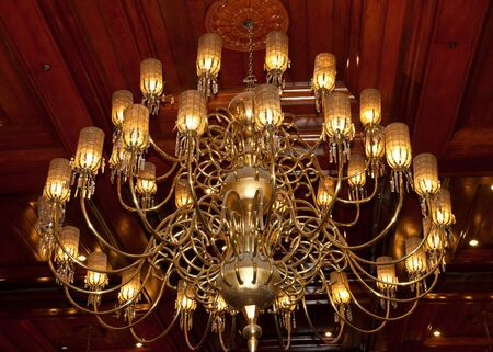 beautiful golden chandelier photo
