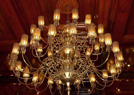 beautiful golden chandelier photo