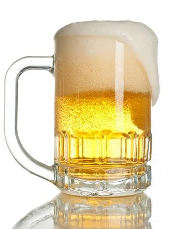overflowing: full beer mug isolated