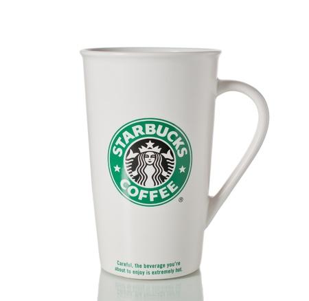Starbucks ceramic coffee mug isolated over white.