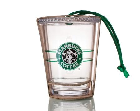 starbucks:  Starbucks cold cup ornament Editorial