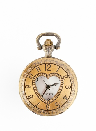 watch over: vintage pocket watch isolated over white background Stock Photo