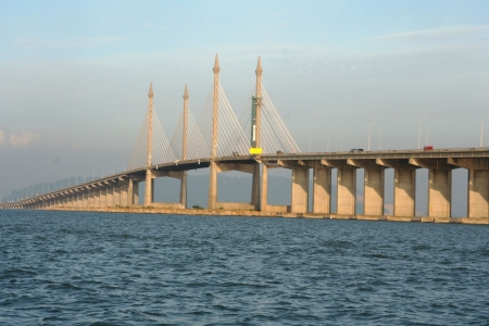 The Penang Bridge , longest bridge in south east asia Stock Photo