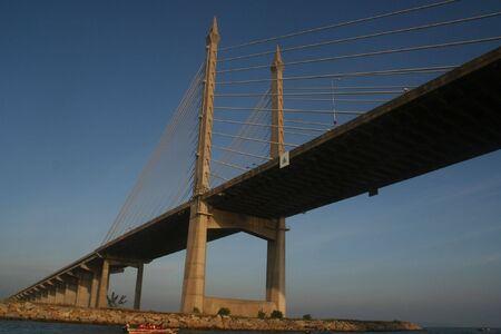 penang: The Penang Bridge , longest bridge in south east asia Stock Photo