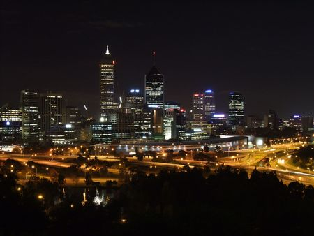 Perth Skyline at night in Western Australia photo