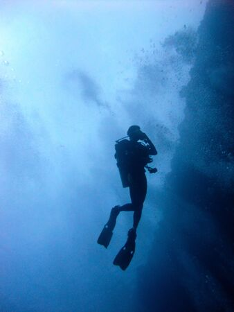 scuba diver from below in  blue sea Stock Photo - 6412860