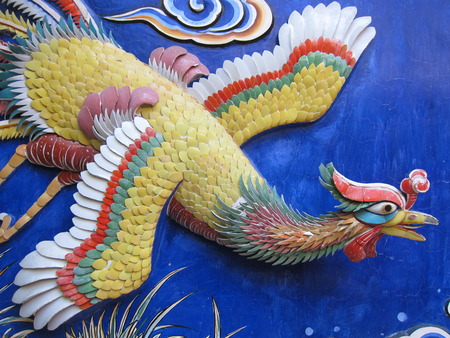 chinese phoenix: Colorful Chinese phoenix statue on Chinese temple wall