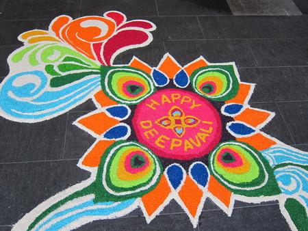 divali: Colorful Indian Festive Decoration on floor