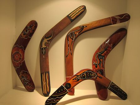 aborigin: Aboriginal  art  Boomerang display on wall Stock Photo