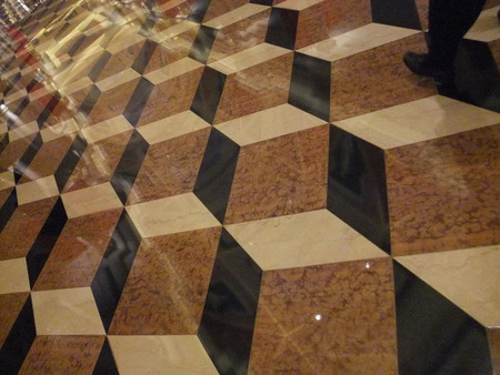 biege: Brown  and biege square tiling on the floor