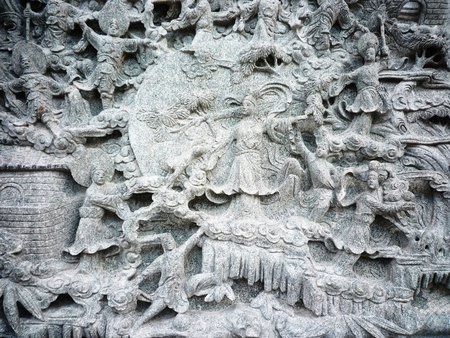 craft on marble: Chinese sculpture in temple