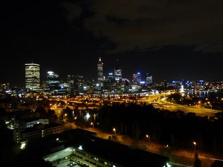 perth: Perth Skyline at night in Western Australia Stock Photo