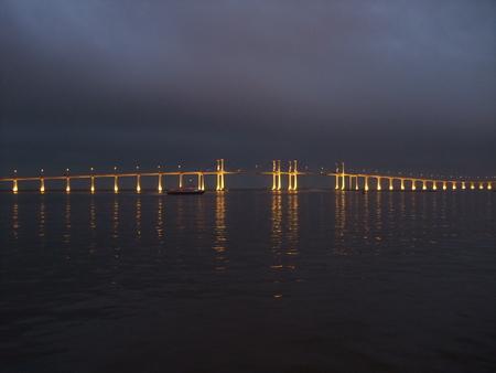 volga river: View of Macau bridge across the Volga river Stock Photo