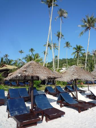 Beach chairs and cabana Stock Photo