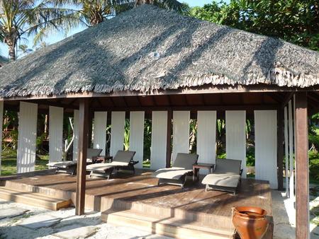 cabana: Beach chairs and cabana Stock Photo