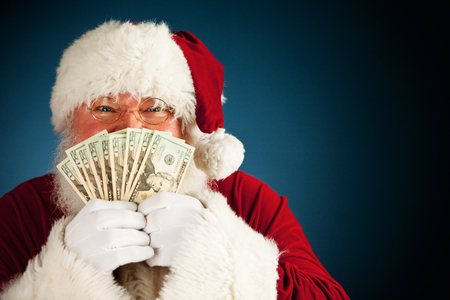 fanned: Extensive series of a Caucasian, Authentic Santa Claus Character on a blue background.