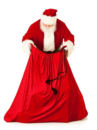 Extensive series of an isolated on white, Caucasian, authentic Santa Claus. Stock Photo