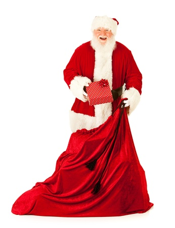 christmas costume: Extensive series of an isolated on white, Caucasian, authentic Santa Claus. LANG_EVOIMAGES