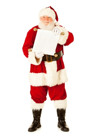 Extensive series of an isolated on white, Caucasian, authentic Santa Claus. Standard-Bild